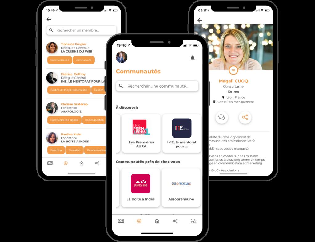 Application de networking communautés réseaux professionnels